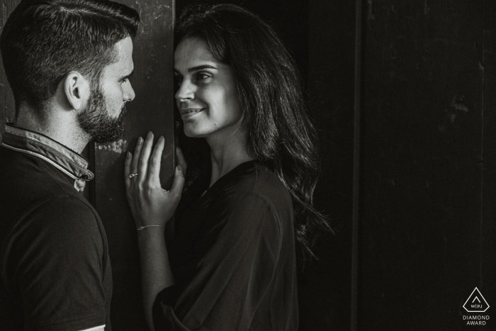 Engagement Photography for Tibães monastery - The couple exchange looks