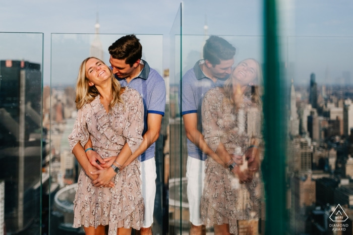 Engagement Portrait from New York City, NY | Couple portrait on a rooftop with the Manhattan view