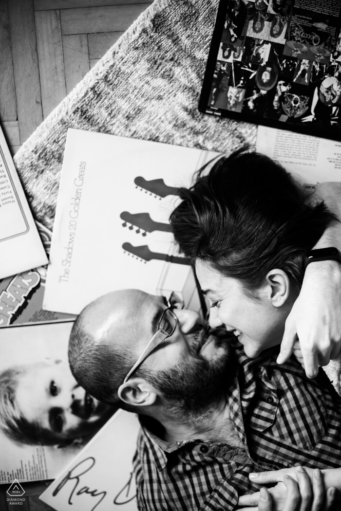 Engagement Photography for Istanbul, Turkey - music lovers embraced in black and white
