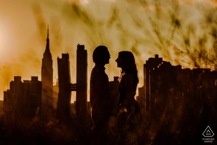 Engagement Photos from New York City - Gantry Plaza State Park - Couple portrait with Manhattan view