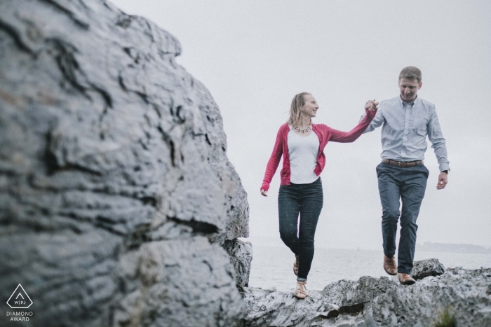 Rainy Portland, ME Engagement - On the rocks at the beach
