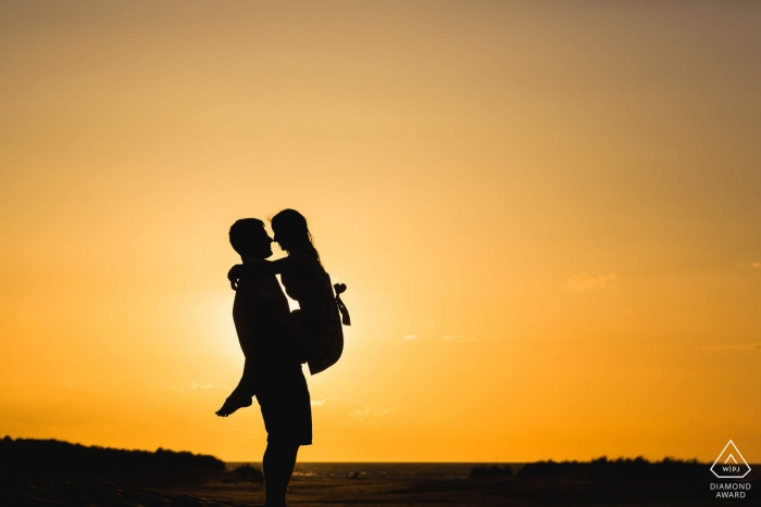 Wells-next-the-sea, Norfolk, United Kingdom | Sunset Pre-wedding silhouette couple pictures