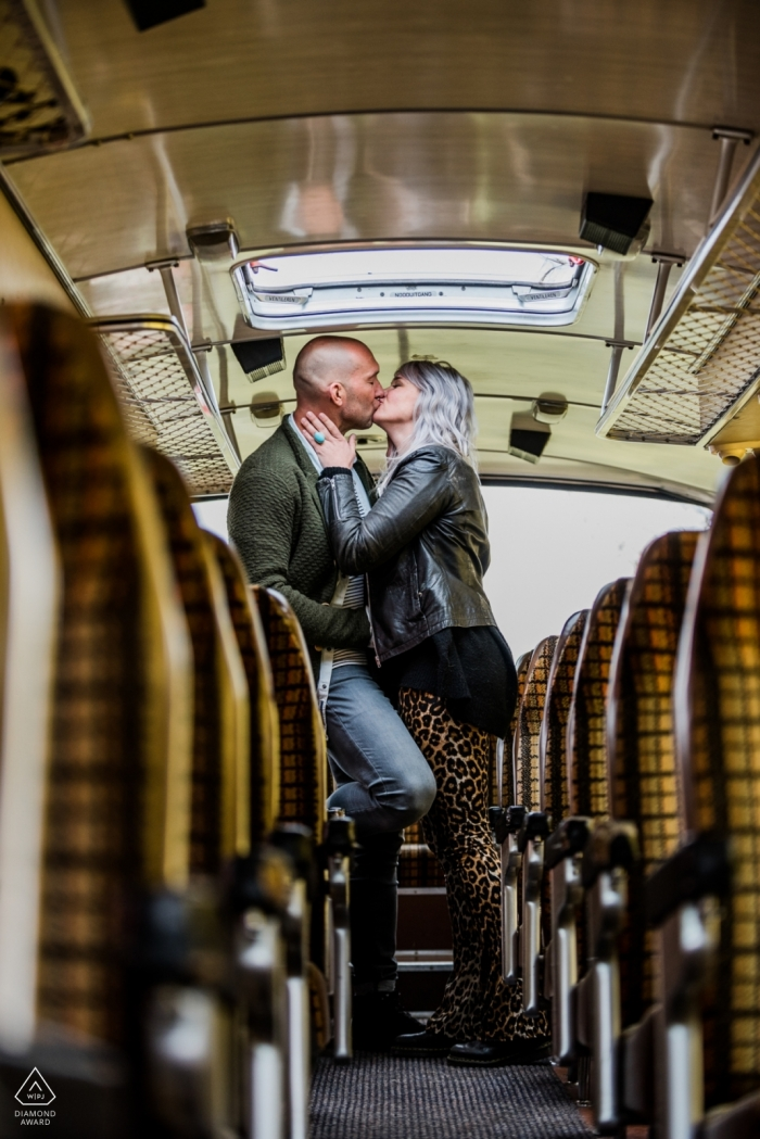 ede engagement photography inside old busses