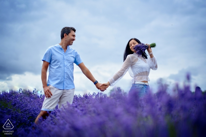 London, UK lavender field engagement photography session in purple