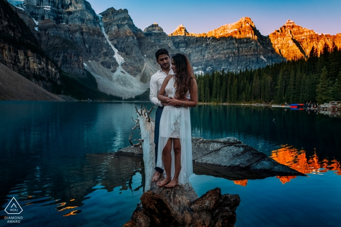 Moraine Lake, Banff National Park, AB, Canada Engagement Photographer: Sunrise and the couple in love.