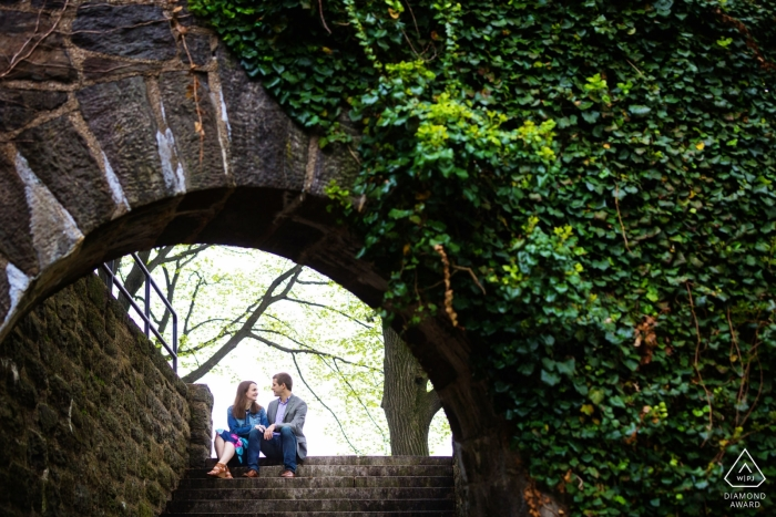 Fort Tyron Park, New York City Engagement Session under the ivy arch