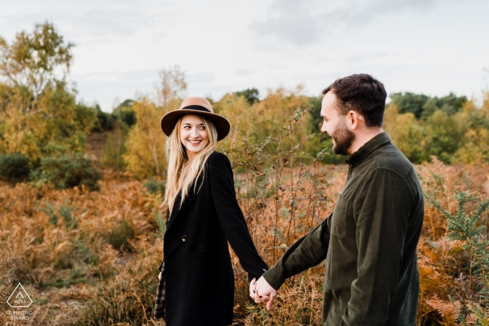 Hand in hand with your bestie... | Walking Engagement Portraits in Heath, West Sussex