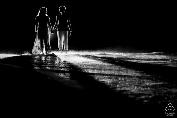 Portraits de Wailea, Maui, Hawaii - silhouette noir et blanc sur la plage
