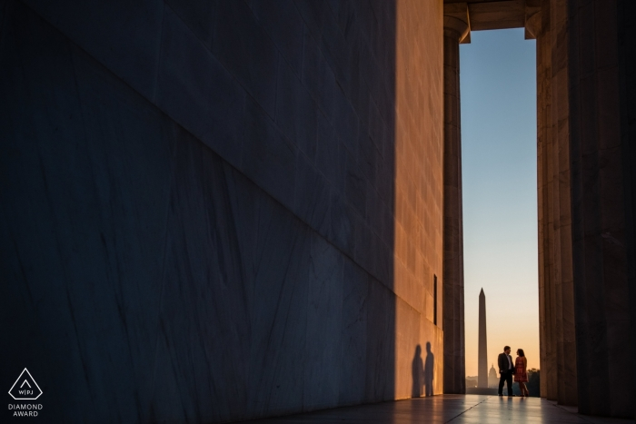 Lincoln Memorial Washington DC Engagement Photography   Couple with shadows on the wall