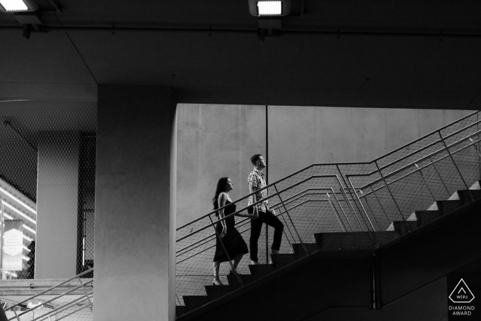 Walking around Downtown LA - Concrete and Stairs PreWedding Portrait Session
