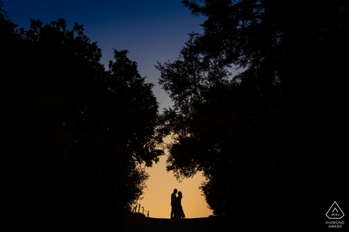 Los Angeles, California Sunset Silhouette Session - Pre Wedding Portraits at Dusk
