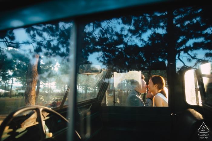 Da Lat, Vietnam PreWedding PhotoShoot - Sun kiss through the car's window