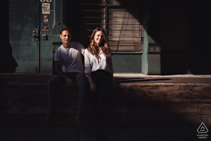 TriBeCa, NYC Engagement Pre-Wedding Portrait of couple in afternoon sunlight