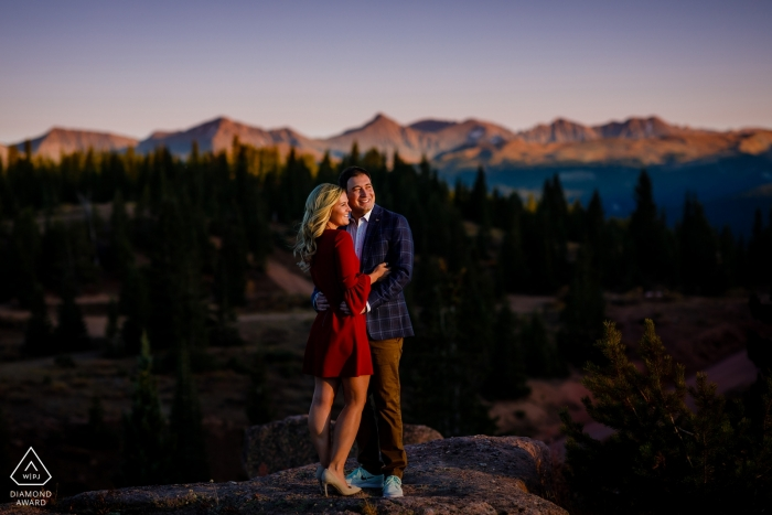 Shrine Pass Photography of a Couple - Catching the last bits of light on top of Shrine Pass for their engagement session.