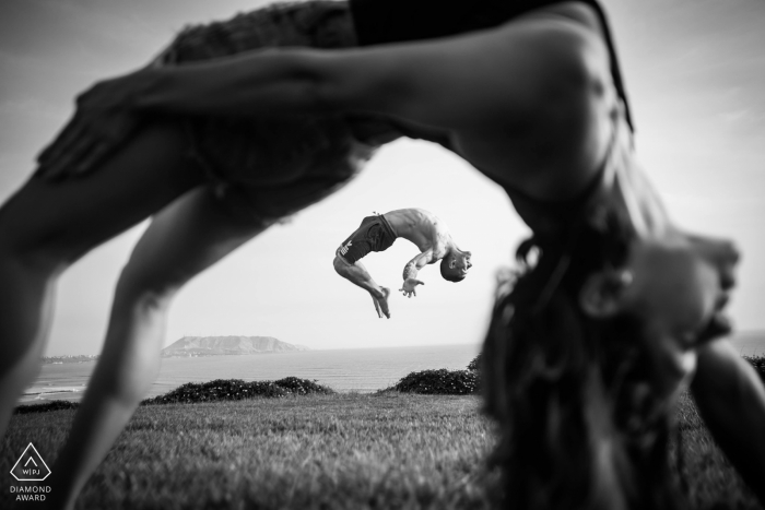 Lima, Perú Wedding PreSession with Gymnastic Couple doing Flips