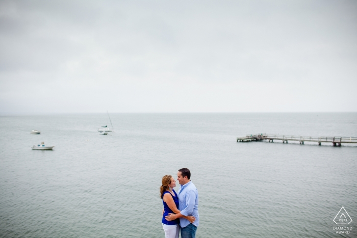 South Dartmouth, MA Engagement shoot with a Couple along sea shore