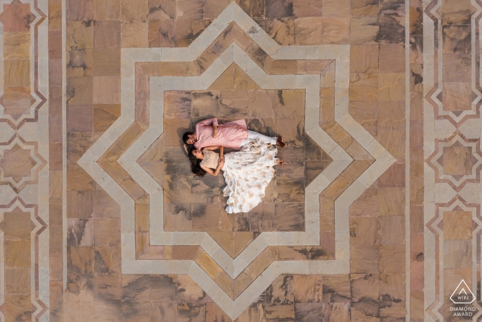 Jaipur, India drone photographer - Love from above   Engagement session for a couple