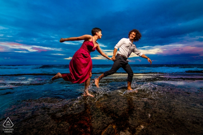 Tunel Guajataca, Isabela PR Engagement Photo Session - Image contains: Running at the beach together