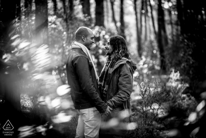 Arcachon Bay, France Engagement Photography - Portrait contains:trees, forest, light, black and white
