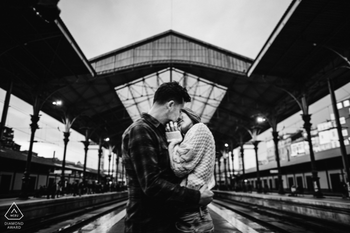 Porto Engagement Portrait Session - Image contains: station, train, subway, urban, black and white