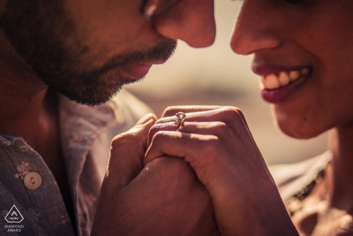 Lisbon Engagement Couple Portrait - Image contains:ring, detail, tight, faces