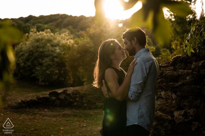 "Close to ""Le Manoir de Sauvegrain"", France- Sunset time for a couple during their engagement photo shoot."