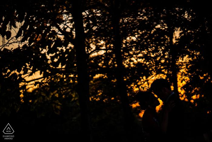 小飛像在婚禮前,新娘和新郎的剪影在樹木與橙色的天空