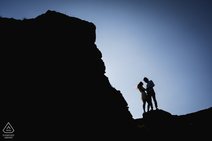 Crozon, France Couple Silhouettes - Engagement Photography at the Rocks