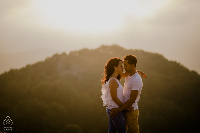 Navarra, Basque Country Engagement Photography - Portrait of a loving Couple at sunset