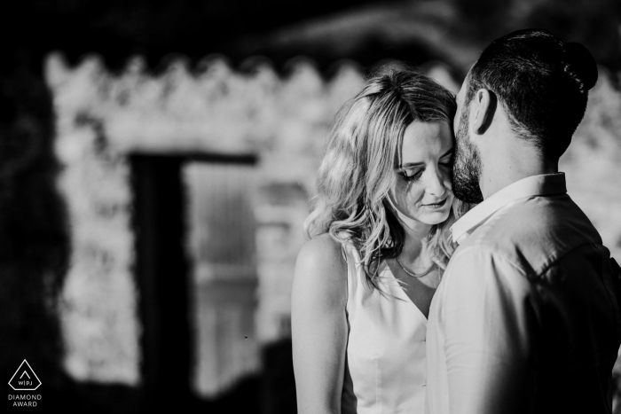 Castelnou, Pyrénées-Orientales, France - Engagement session with a couple in small French medieval village
