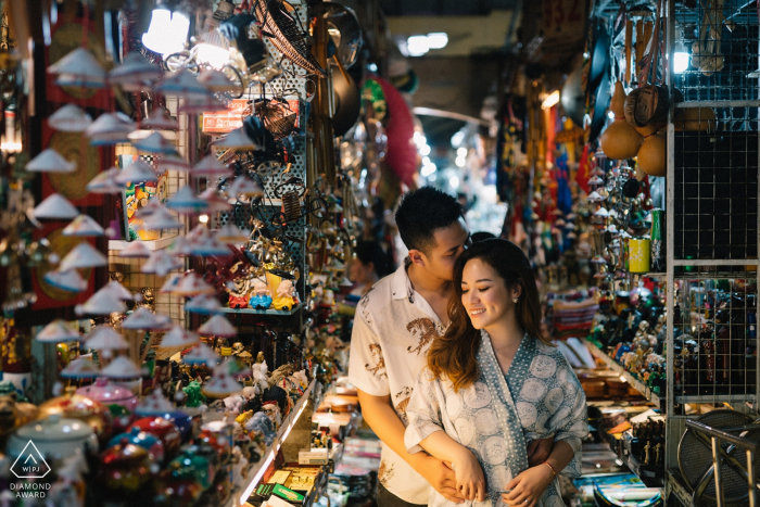 Saigon, Vietnam pre-wedding session: Marketplace engagement photoshoot with a young couple