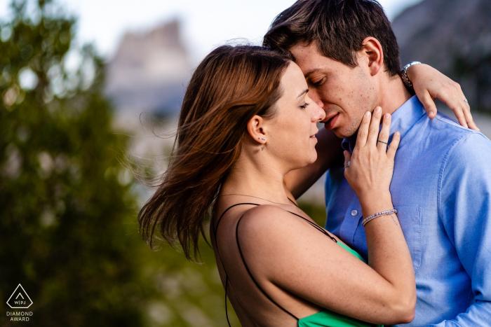 Trieste pre wedding portraits - Sweetness, couple, trees, light, embrace.