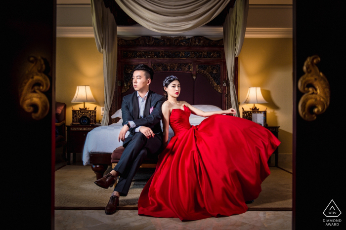 Ayana Resort, photographe de pré-mariage à Bali: j'ai pris cette photo pour le couple dans leur chambre.