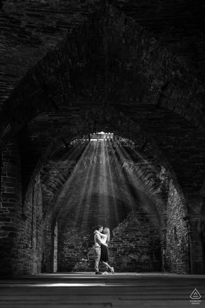 Abbaye de Villers, Belgium engagment photo | This image was taken in one of the big spaces in an old abbey, which was destroyed for a big part during WWII