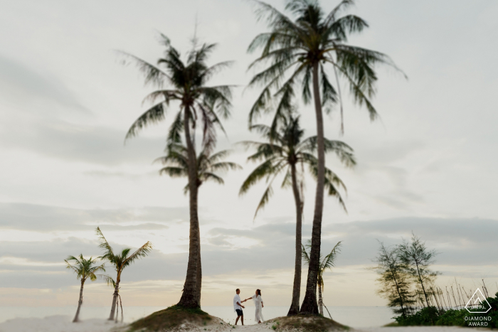 """Phu Quoc Island engagement photographer: This couple came to Phu Quoc during the summer vacation. He surprised her by proposing. Pictures taken immediately after she said """"yes"""""""