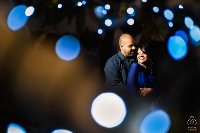 Balboa Park, San Diego Engagement Photography   A Couple poses in Bokeh