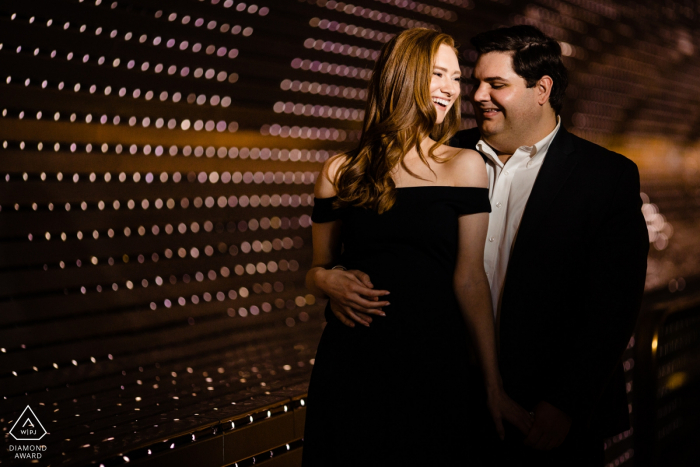 DC Engagement Photography - National Portrait Gallery - Beautiful couple and pretty lights