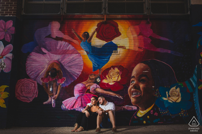 Old City Philadelphia Photographer: I love graffiti and murals. I use them and flashed this. Engagement Photography on the streets.
