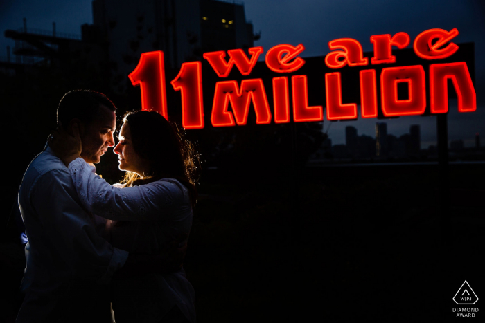 The Highline New York Engagement Photographer: Saw the sign, stopped down and backlit.