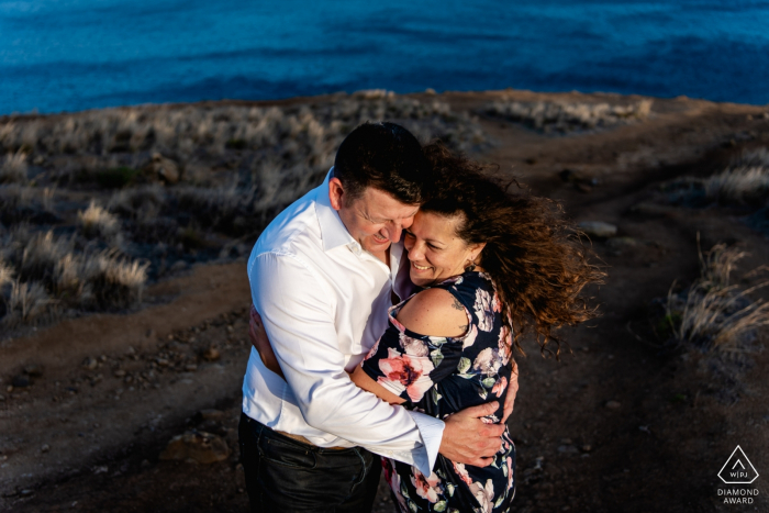 Madeira Island - A pre-wedding engagement portrait of a mature couple.
