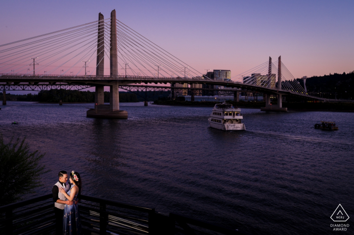 Couple in love with the beautiful sunset in Portland Oregon - Engagement Photo Session at Dusk