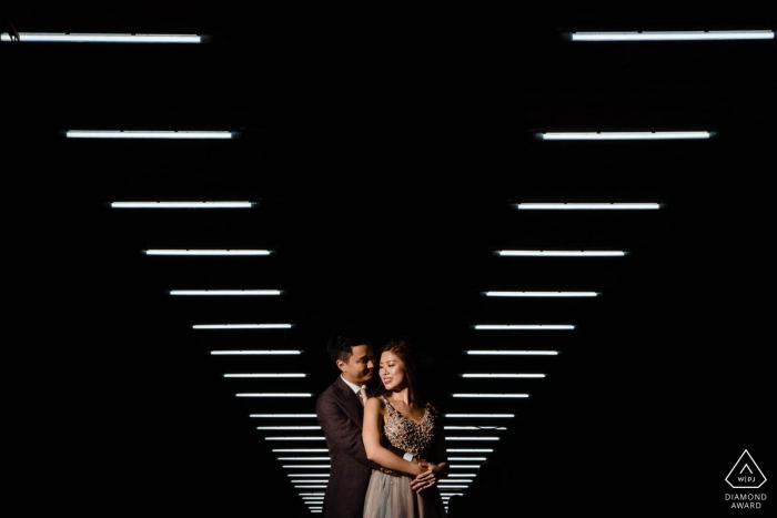 Hong Kong Engagement Portrait Photographer | Couple Session Lit Overhead