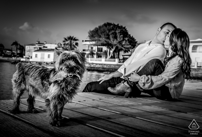 Portraits de couple AGUILAS MURCIA | Un petit chien amusant au milieu de la session de pré-mariage