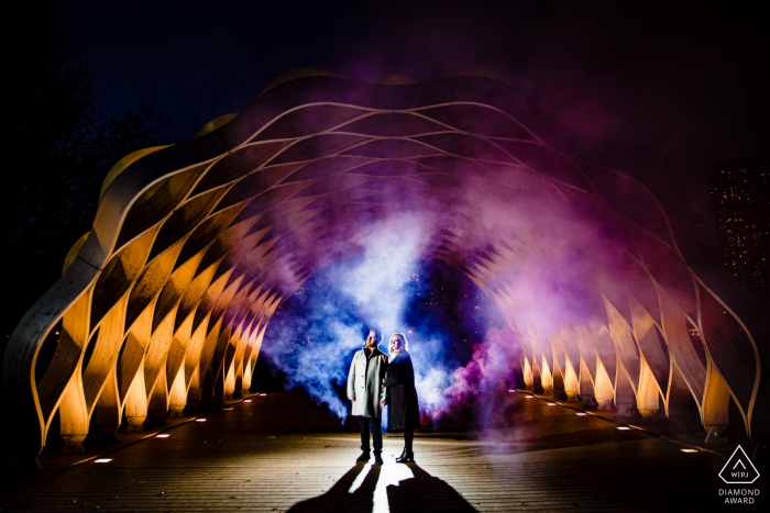 Lincoln Park, Chicago couple and artwork - Engagement Session at Night with Lights