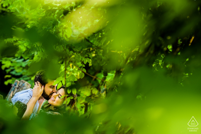 São Paulo - Joaquim Egidio couple in the trees, kissing during engagement shoot