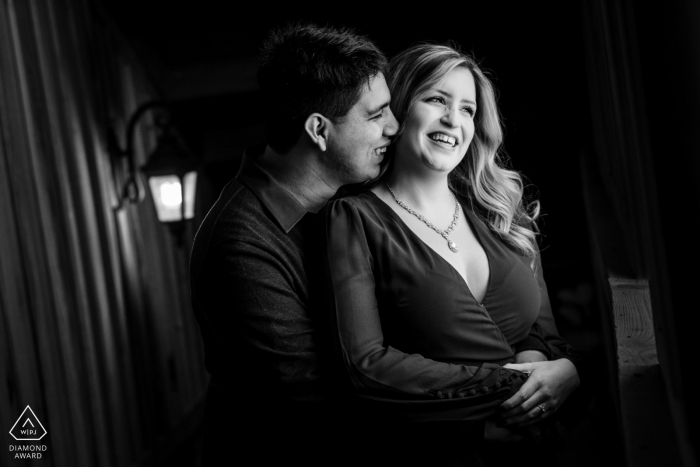 Couple having their happy moment in their engagement session at their Venue in Katy TX