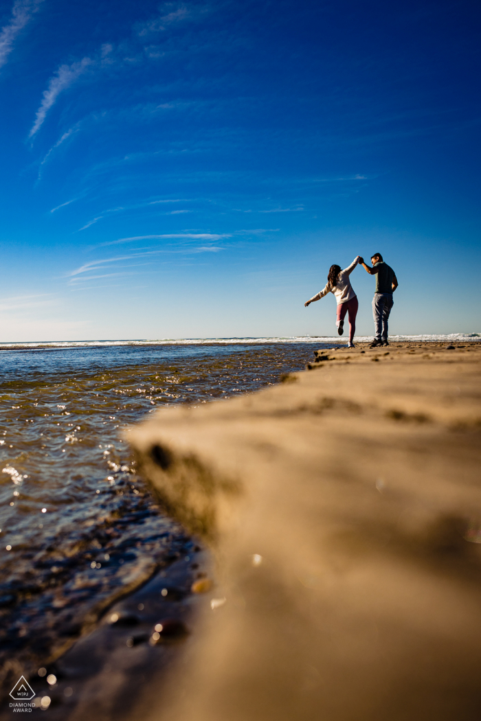 Southern California Walk on the Beach for Engagement Photo