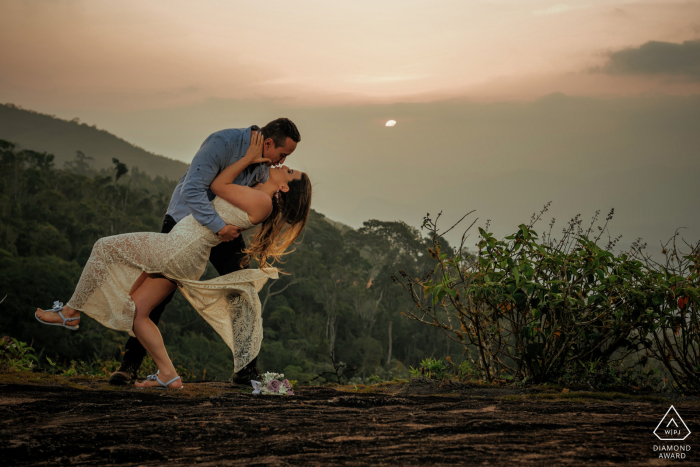 Santa Teresa - ES - Brazil e-Session with a couple dipping at sunset.