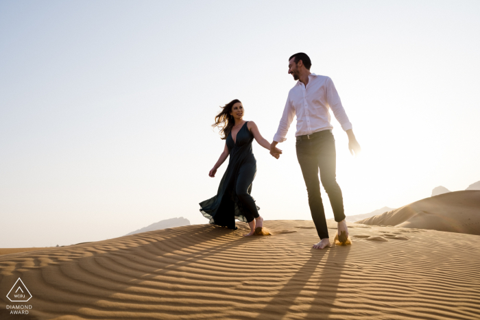 Maleiha Desert, Dubai pre wedding pictures - Dune Wandering couple