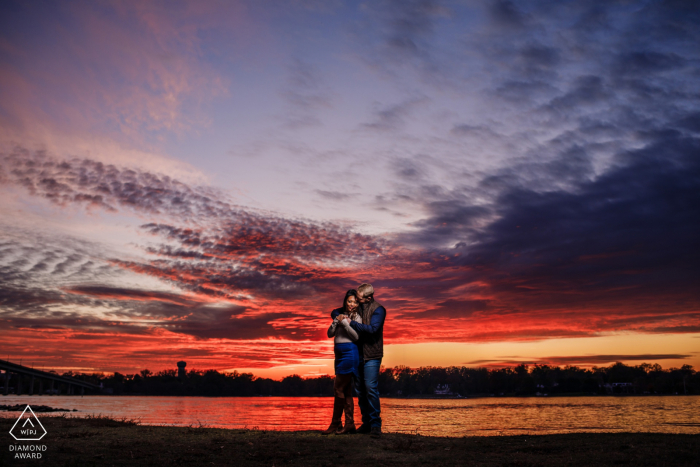 Engaged Couple Session   Jonas Green Park, Annapolis, MD - Firey sunset photo in Annapolis, MD, lit with softbox